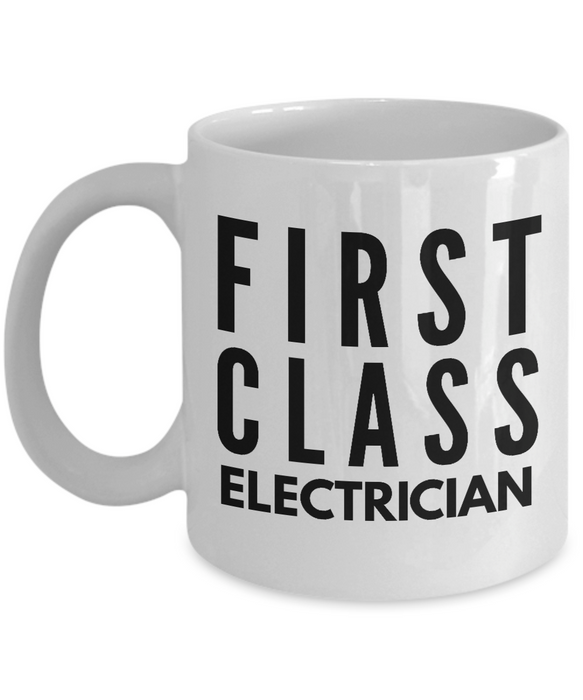 First Class Electrician - Birthday Retirement or Thank you Gift Idea -   11oz Coffee Mug - Ribbon Canyon