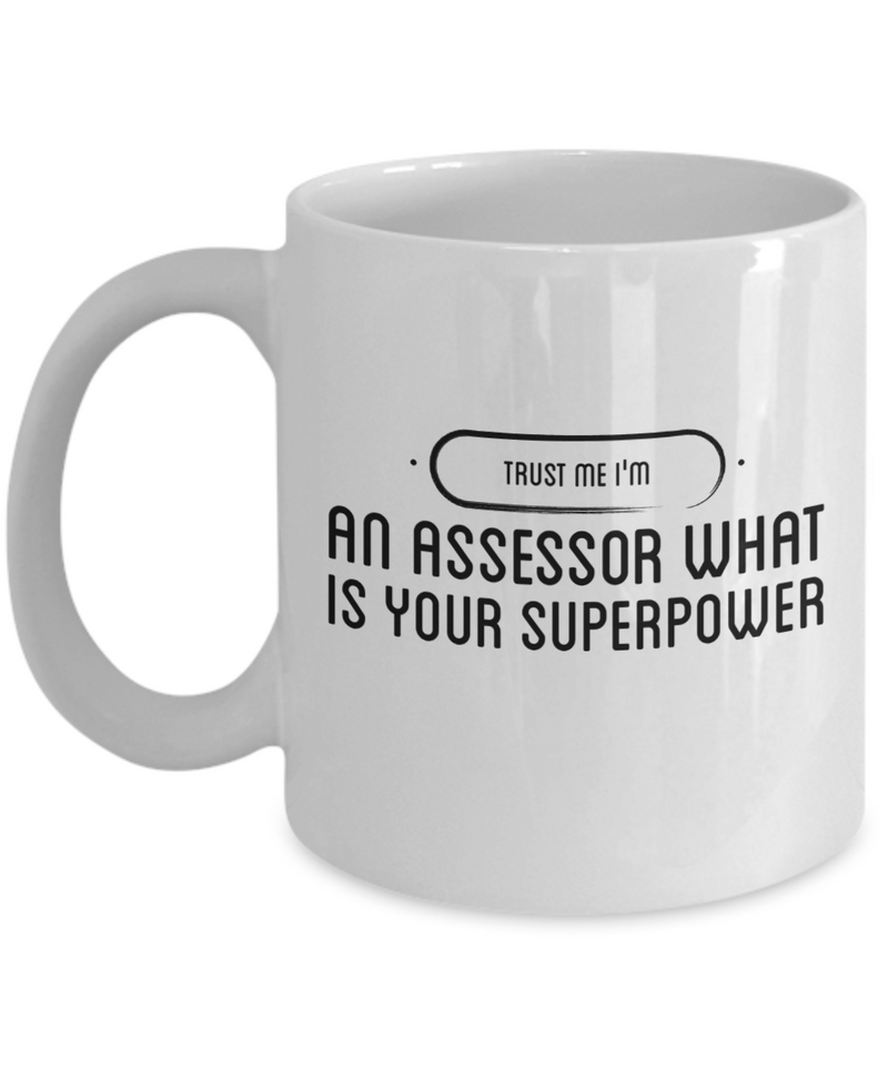 Trust Me I'm an Assessor What Is Your Superpower, 11Oz Coffee Mug Unique Gift Idea for Him, Her, Mom, Dad - Perfect Birthday Gifts for Men or Women / Birthday / Christmas Present - Ribbon Canyon