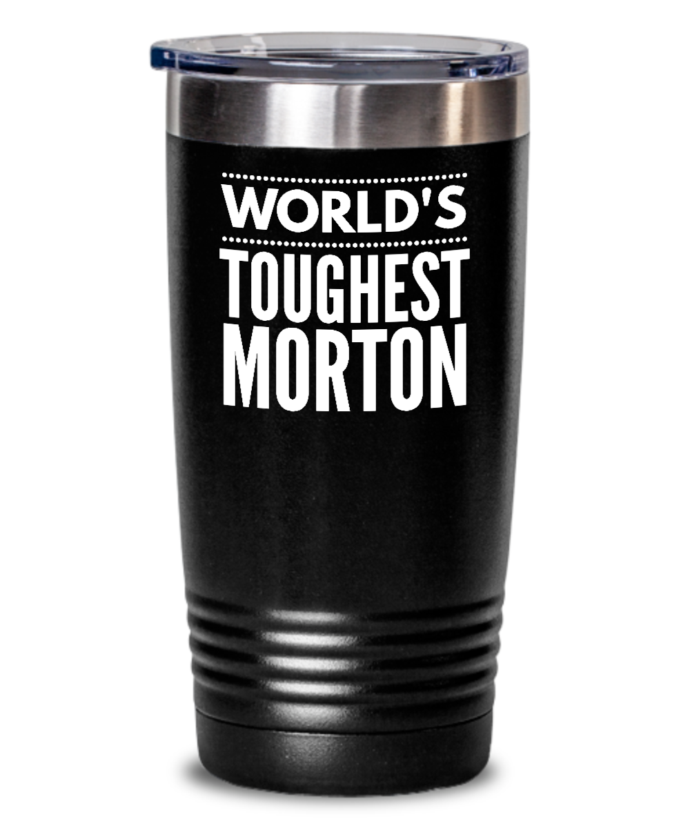 #GB Tumbler White NAME 3600 World's Toughest MORTON