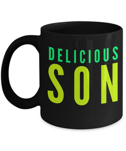 Delicious Son - Family Gag Gifts For Mom or Dad Birthday Father or Mother Day -   11oz Coffee Mug - Ribbon Canyon