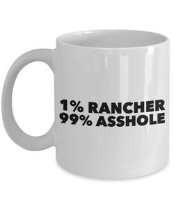 1% Rancher 99% Asshole Gag Gift for Coworker Boss Retirement or Birthday - Ribbon Canyon