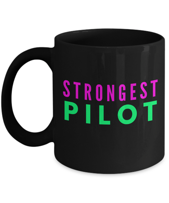Strongest Pilot -  Coworker Friend Retirement Birthday or Graduate Gift -   11oz Coffee Mug - Ribbon Canyon