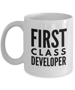 First Class Developer - Birthday Retirement or Thank you Gift Idea -   11oz Coffee Mug - Ribbon Canyon