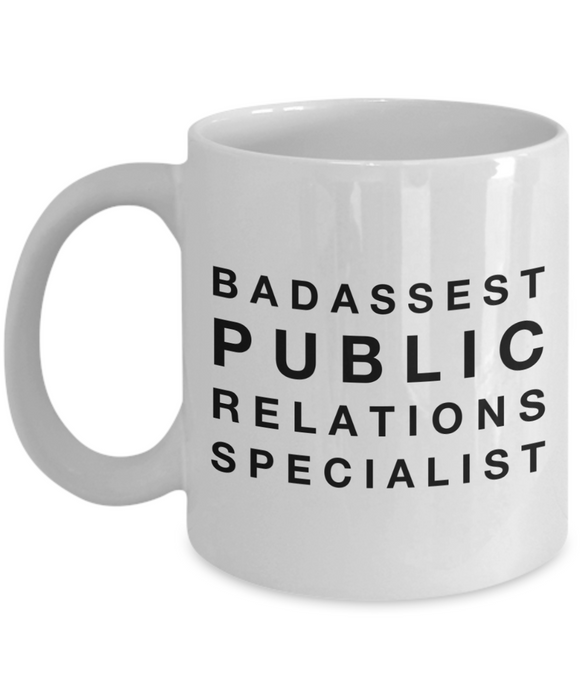 Badassest Public Relations Specialist, 11oz Coffee Mug Gag Gift for Coworker Boss Retirement or Birthday - Ribbon Canyon
