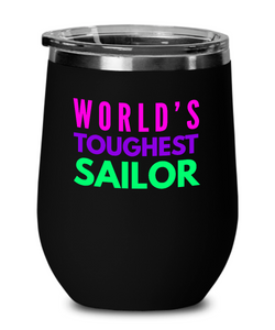 World's Toughest Sailor Insulated 12oz Stemless Wine Glass - Ribbon Canyon