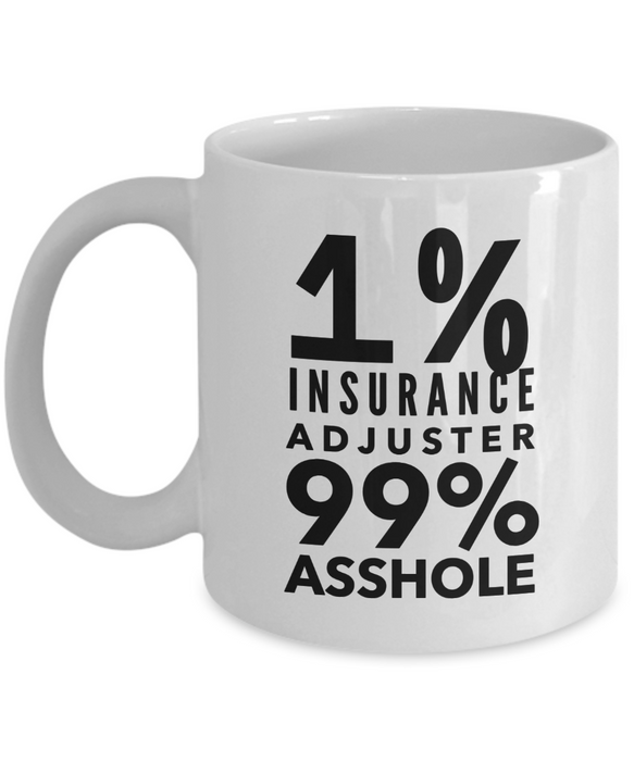 1% Insurance Adjuster 99% Asshole Gag Gift for Coworker Boss Retirement or Birthday - Ribbon Canyon