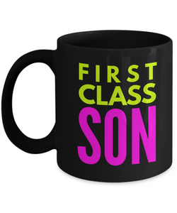 First Class Son - Family Gag Gifts For Mom or Dad Birthday Father or Mother Day -   11oz Coffee Mug - Ribbon Canyon