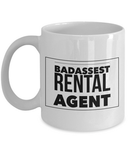 Badassest Rental Agent, 11oz Coffee Mug Gag Gift for Coworker Boss Retirement or Birthday - Ribbon Canyon