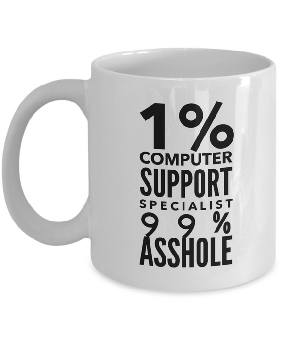 Funny Mug 1% Computer Support Specialist 99% Asshole   11oz Coffee Mug Gag Gift for Coworker Boss Retirement - Ribbon Canyon