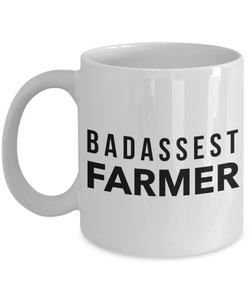 Funny Mug Badassest Farmer   11oz Coffee Mug Gag Gift for Coworker Boss Retirement - Ribbon Canyon