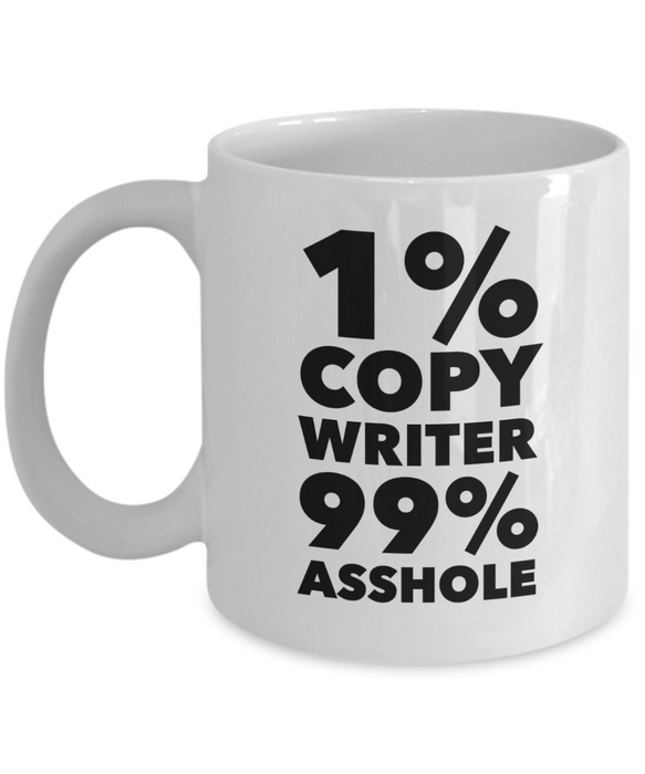 1% Copy Writer 99% Asshole Gag Gift for Coworker Boss Retirement or Birthday - Ribbon Canyon