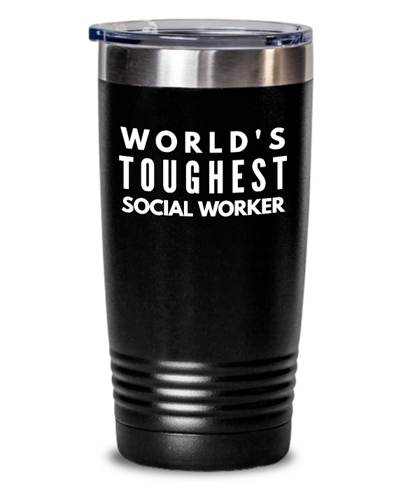 Social Worker - Novelty Gift White Print 20oz. Stainless Tumblers - Ribbon Canyon