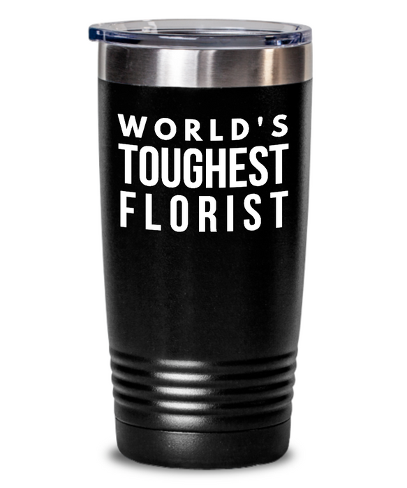 Florist - Novelty Gift White Print 20oz. Stainless Tumblers - Ribbon Canyon