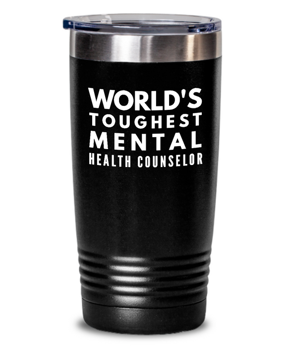 Mental Health Counselor - Novelty Gift White Print 20oz. Stainless Tumblers - Ribbon Canyon