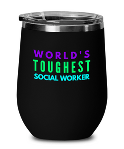 World's Toughest Social Worker Insulated 12oz Stemless Wine Glass - Ribbon Canyon