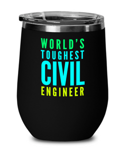 World's Toughest Civil Engineer Insulated 12oz Stemless Wine Glass - Ribbon Canyon