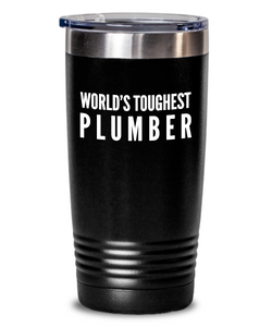 Plumber - Novelty Gift White Print 20oz. Stainless Tumblers - Ribbon Canyon