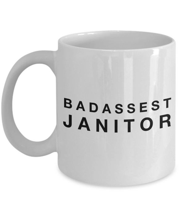Funny Mug Badassest Janitor   11oz Coffee Mug Gag Gift for Coworker Boss Retirement - Ribbon Canyon