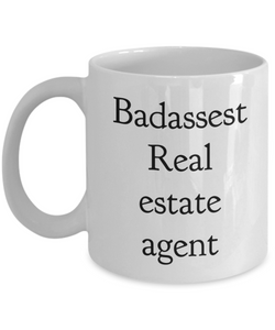 Badassest Real Estate Agent, 11oz Coffee Mug  Dad Mom Inspired Gift - Ribbon Canyon