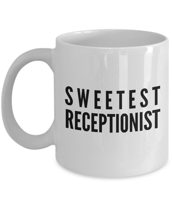 Sweetest Receptionist - Birthday Retirement or Thank you Gift Idea -   11oz Coffee Mug - Ribbon Canyon