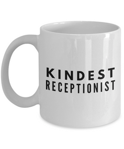 Kindest Receptionist - Birthday Retirement or Thank you Gift Idea -   11oz Coffee Mug - Ribbon Canyon