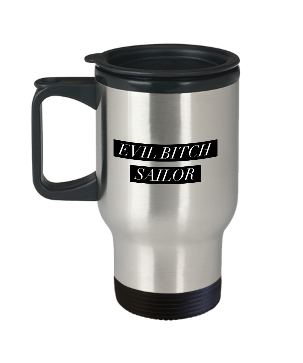 Evil Bitch Sailor, 14Oz Travel Mug Gag Gift for Coworker Boss Retirement or Birthday - Ribbon Canyon