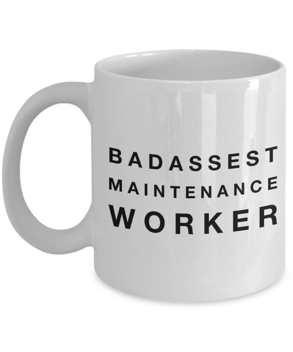 Badassest Maintenance Worker, 11oz Coffee Mug Gag Gift for Coworker Boss Retirement or Birthday - Ribbon Canyon