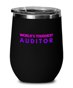 World's Toughest Auditor Insulated 12oz Stemless Wine Glass - Ribbon Canyon
