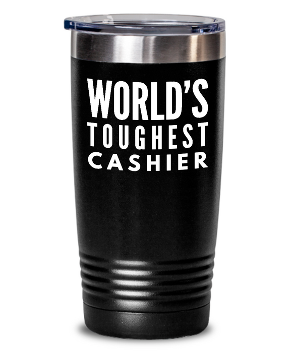Cashier - Novelty Gift White Print 20oz. Stainless Tumblers - Ribbon Canyon