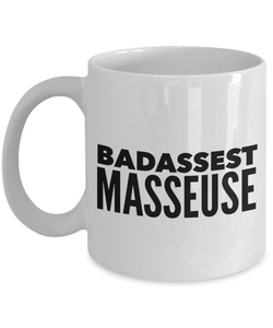 Badassest Masseuse, 11oz Coffee Mug Gag Gift for Coworker Boss Retirement or Birthday - Ribbon Canyon