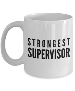 Strongest Supervisor - Birthday Retirement or Thank you Gift Idea -   11oz Coffee Mug - Ribbon Canyon