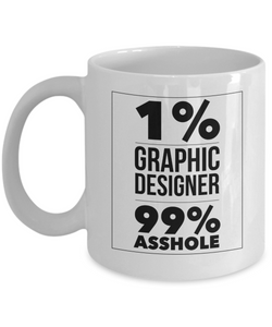 1% Graphic Designer 99% Asshole, 11oz Coffee Mug  Dad Mom Inspired Gift - Ribbon Canyon