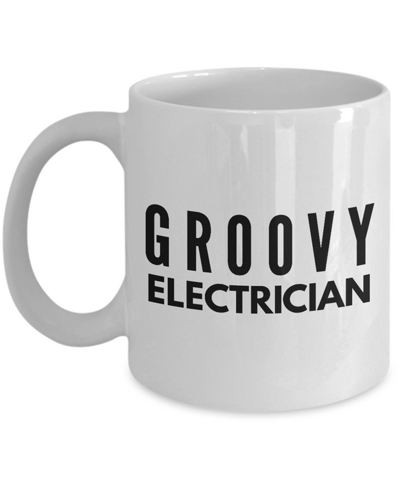 Groovy Electrician - Birthday Retirement or Thank you Gift Idea -   11oz Coffee Mug - Ribbon Canyon