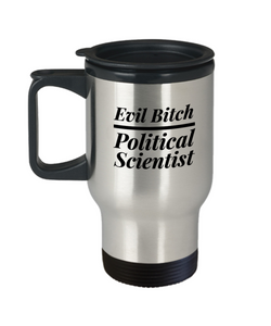 Evil Bitch Political Scientist, 14Oz Travel Mug Gag Gift for Coworker Boss Retirement or Birthday - Ribbon Canyon