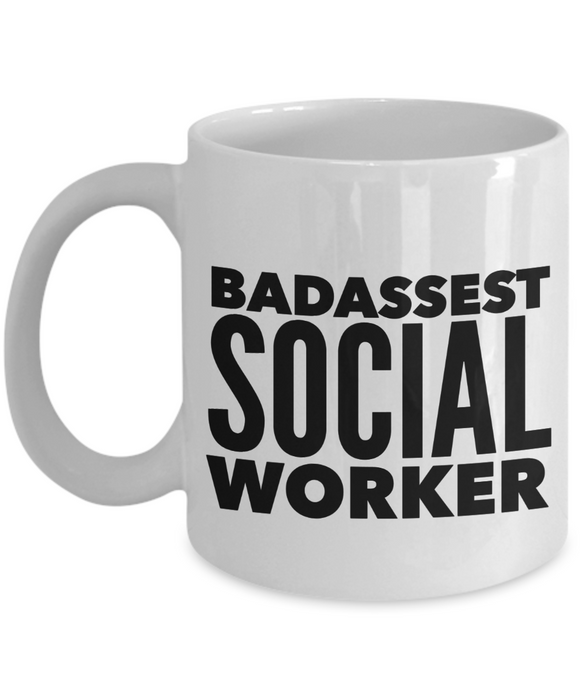 Badassest Social Worker, 11oz Coffee Mug  Dad Mom Inspired Gift - Ribbon Canyon