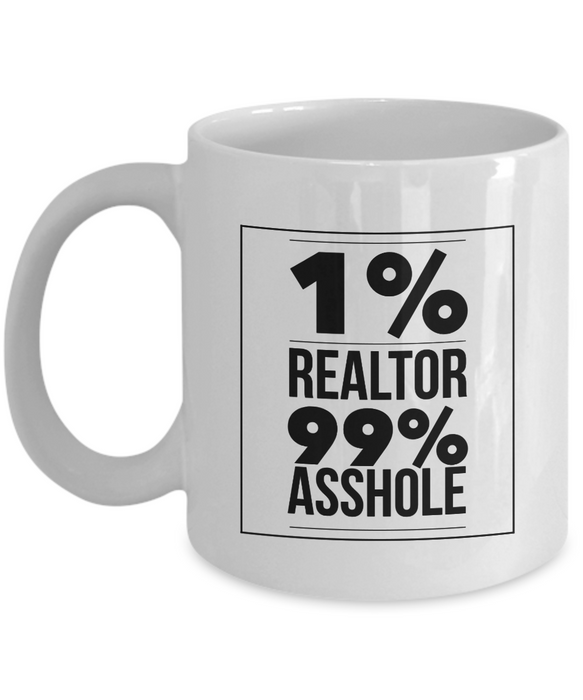 1% Realtor 99% Asshole Gag Gift for Coworker Boss Retirement or Birthday - Ribbon Canyon