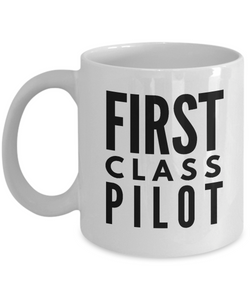 First Class Pilot - Birthday Retirement or Thank you Gift Idea -   11oz Coffee Mug - Ribbon Canyon