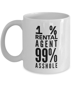 1% Rental Agent 99% Asshole Gag Gift for Coworker Boss Retirement or Birthday - Ribbon Canyon