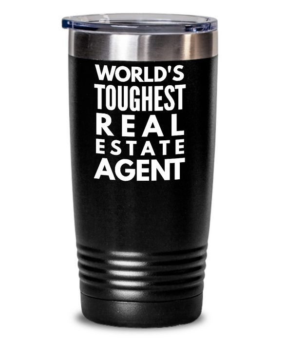 Real Estate Agent - Novelty Gift White Print 20oz. Stainless Tumblers - Ribbon Canyon