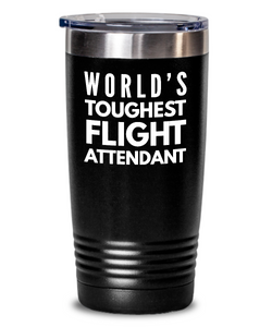 Flight Attendant - Novelty Gift White Print 20oz. Stainless Tumblers - Ribbon Canyon