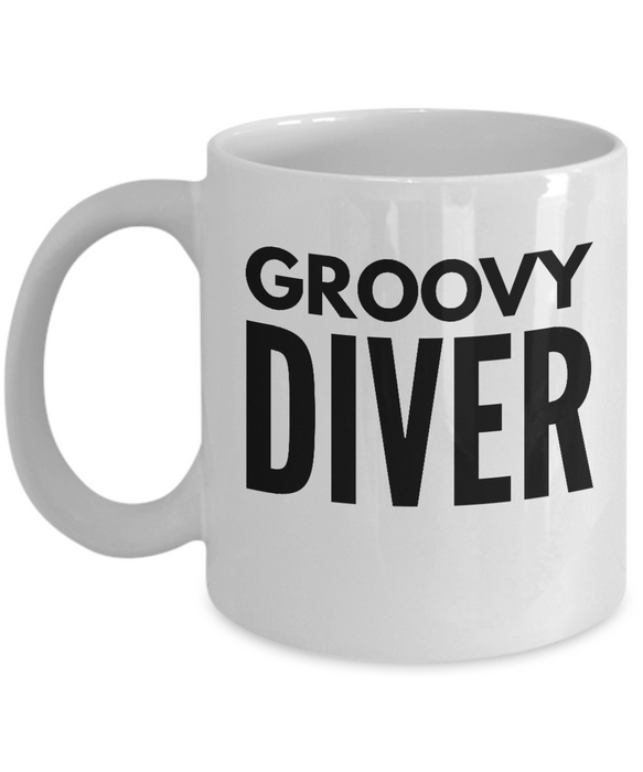 Groovy Diver - Birthday Retirement or Thank you Gift Idea -   11oz Coffee Mug - Ribbon Canyon