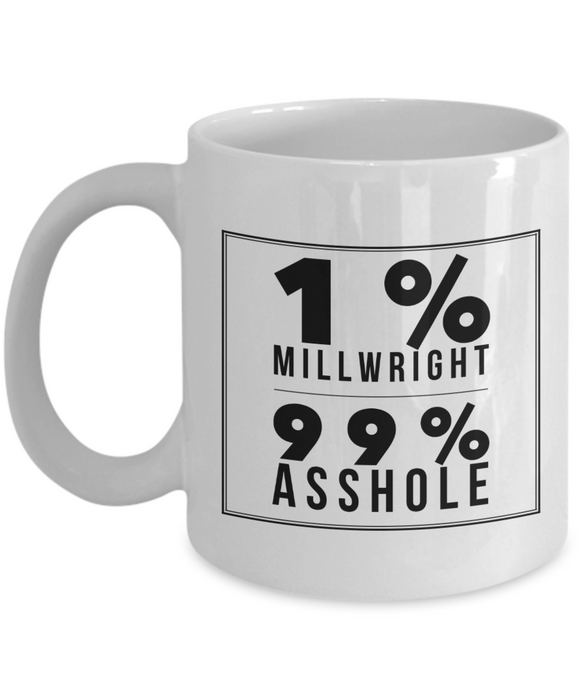 1% Millwright 99% Asshole, 11oz Coffee Mug  Dad Mom Inspired Gift - Ribbon Canyon