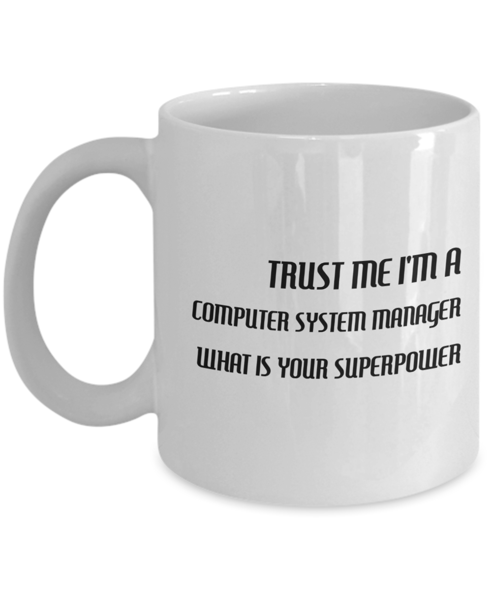Trust Me I'm a Computer System Manager What Is Your Superpower, 11Oz Coffee Mug for Dad, Grandpa, Husband From Son, Daughter, Wife for Coffee & Tea Lovers - Ribbon Canyon
