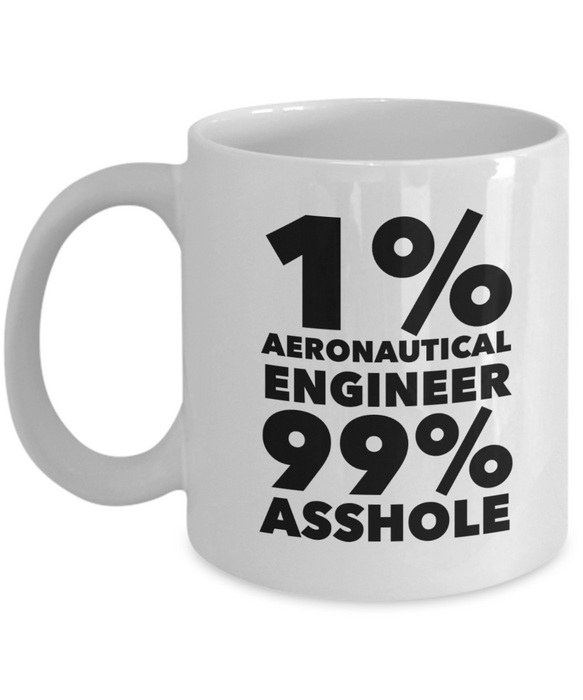 Funny Mug 1% Aeronautical Engineer 99% Asshole   11oz Coffee Mug Gag Gift for Coworker Boss Retirement - Ribbon Canyon