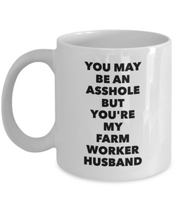You May Be An Asshole But You'Re My Farm Worker Husband, 11oz Coffee Mug Best Inspirational Gifts - Ribbon Canyon