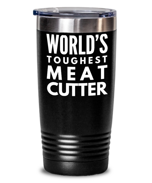 Meat Cutter - Novelty Gift White Print 20oz. Stainless Tumblers - Ribbon Canyon