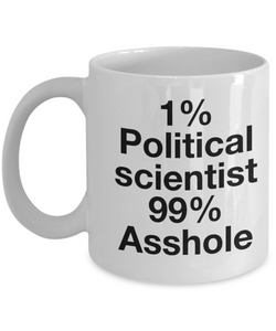 1% Political Scientist 99% Asshole, 11oz Coffee Mug  Dad Mom Inspired Gift - Ribbon Canyon