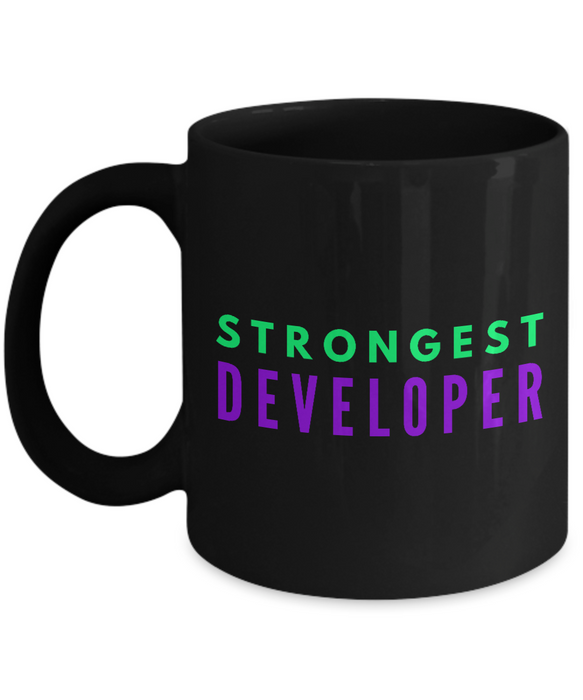 Strongest Developer -  Coworker Friend Retirement Birthday or Graduate Gift -   11oz Coffee Mug - Ribbon Canyon