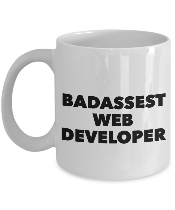 Funny Mug Badassest Web Developer   11oz Coffee Mug Gag Gift for Coworker Boss Retirement - Ribbon Canyon
