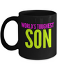 World's Toughest Son - Family Gag Gifts For Mom or Dad Birthday Father or Mother Day -   11oz Coffee Mug - Ribbon Canyon